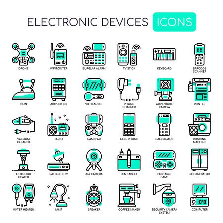 Urządzenia elektroniczne, cienka linia i ikony Pixel Perfect