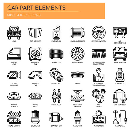Pièces de voiture, Thin Line et Pixel Perfect Icons Vecteurs