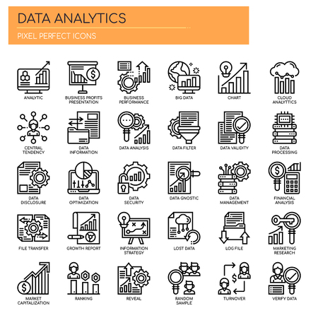 Data Analytics, Thin Line et Pixel Perfect Icons