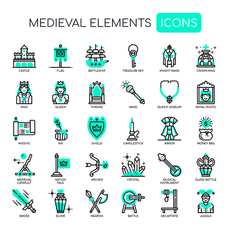 Medieval Elements , Thin Line and Pixel Perfect Icons Vectores