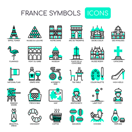 France Symbols , Thin Line and Pixel Perfect Icons Illustration
