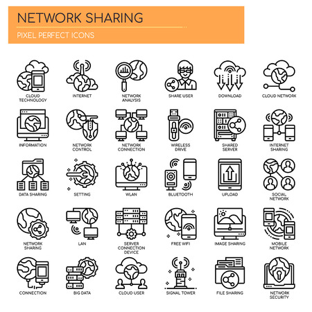 Network Sharing , Thin Line and Pixel Perfect Icons