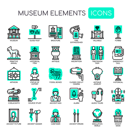 Museum Elements , Thin Line and Pixel Perfect Icons Vettoriali
