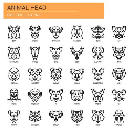 Zwierzęca głowa, cienka linia i piksele idealne ikony