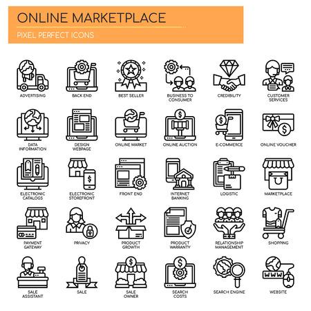Online-Marktplatz, Thin Line und Pixel Perfect Icons Vektorgrafik