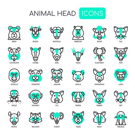Testa di animale, linea sottile e icone perfette pixel