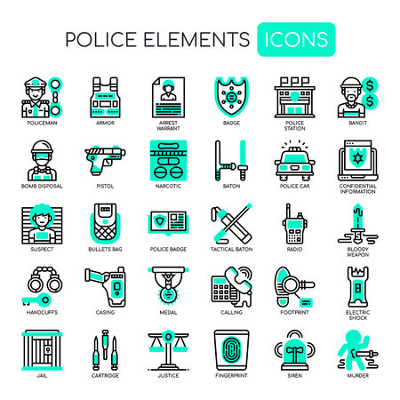 Elementos policiales, iconos de líneas finas y píxeles perfectos Ilustración de vector