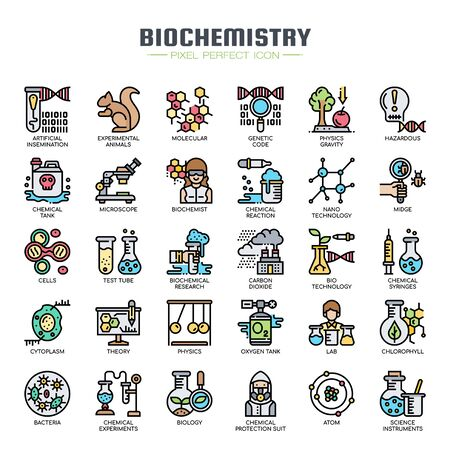 Biochemistry Elements , Thin Line and Pixel Perfect Icons Stock Vector - 128420542