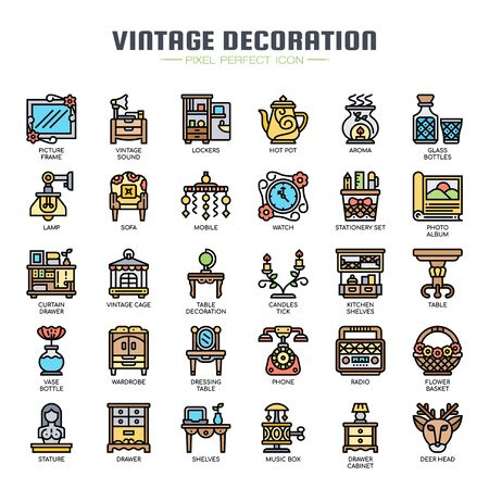 Vintage Decoration , Thin Line and Pixel Perfect Icons Stock Illustratie