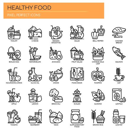 Healthy Food , Thin Line and Pixel Perfect Icons