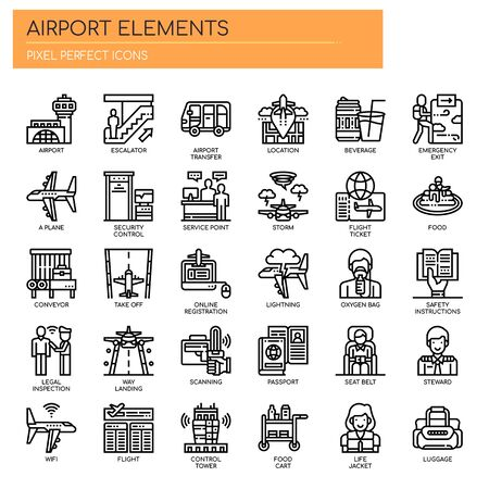 Airport Elements , Thin Line and Pixel Perfect Icons Stock Vector - 128420554