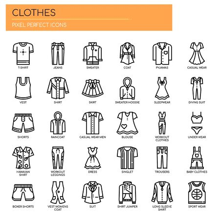 Iconos de ropa, líneas finas y píxeles perfectos