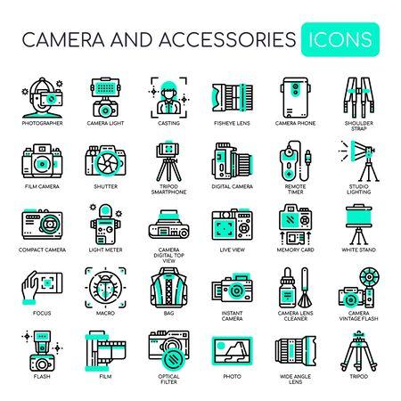 Appareil photo et accessoires, icônes Thin Line et Pixel Perfect