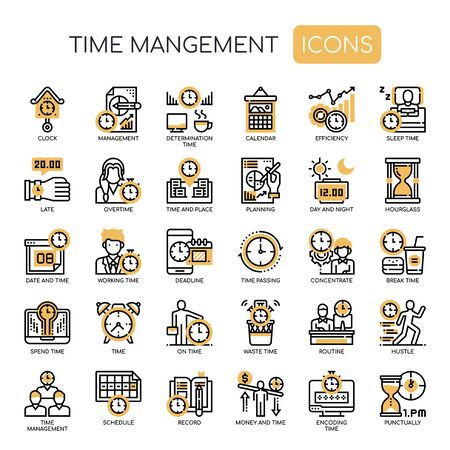 Zarządzanie czasem, cienka linia i ikony Pixel Perfect