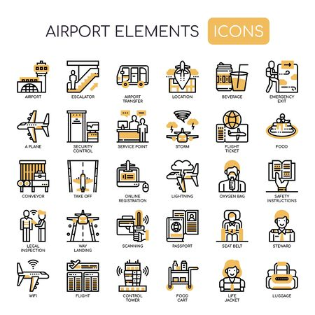 Airport Elements , Thin Line and Pixel Perfect Icons Stock Vector - 128420724