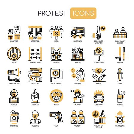Protest Elements , Thin Line and Pixel Perfect Icons Vettoriali