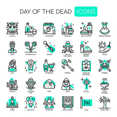Day of the dead , Thin Line and Pixel Perfect Icons