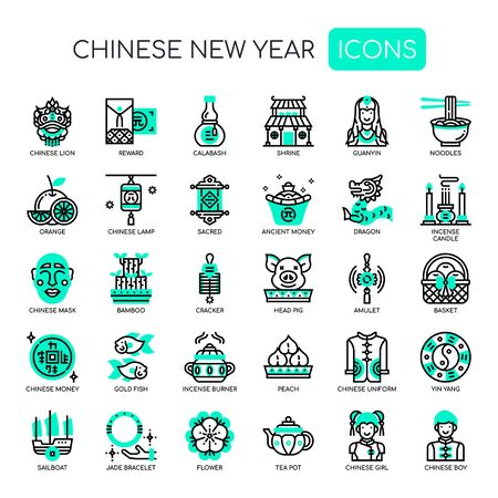 Chinese New Year , Thin Line and Pixel Perfect Icons