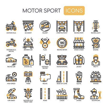 Motor Sport , Thin Line and Pixel Perfect Icons Stock Illustratie