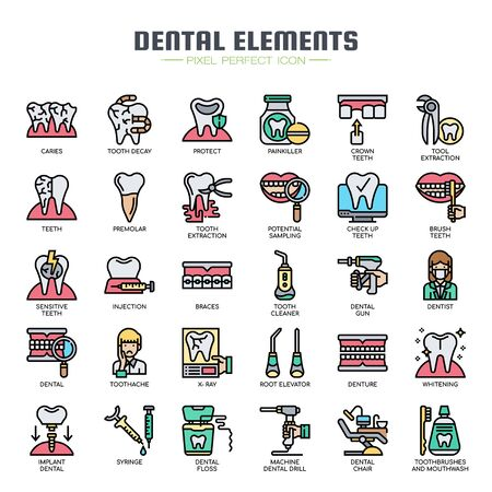 Dental Elements , Thin Line and Pixel Perfect Icons