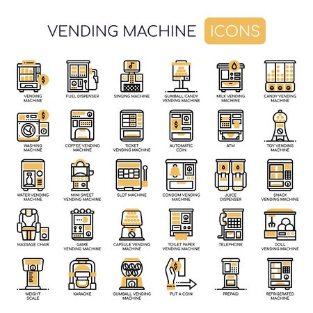 Vending Machine , Thin Line and Pixel Perfect Icons Vettoriali