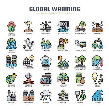 Réchauffement climatique, Thin Line et Pixel Perfect Icons Vecteurs