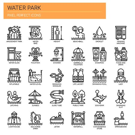 Water Park , Thin Line and Pixel Perfect Icons