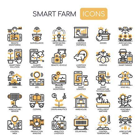 Iconos de Smart Farm, Thin Line y Pixel Perfect
