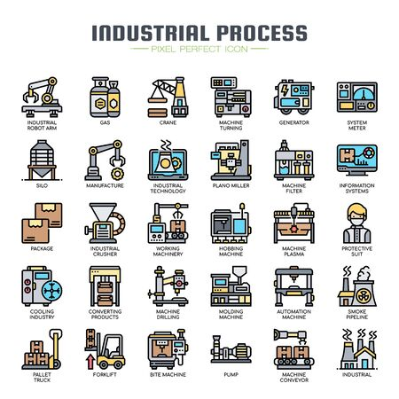 Industrial Process , Thin Line and Pixel Perfect Icons Ilustração