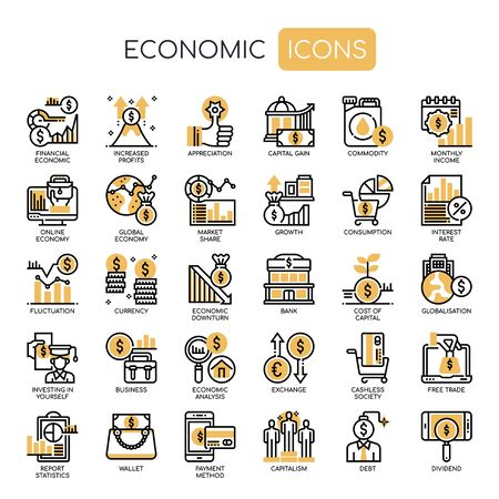 Econimic Elements , Thin Line and Pixel Perfect Icons