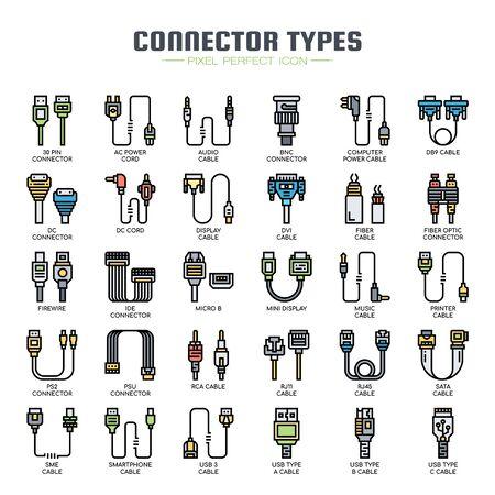 Tipi di connettori, linee sottili e icone pixel perfette