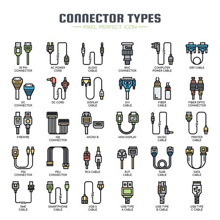Tipos de conectores, iconos de líneas finas y píxeles perfectos