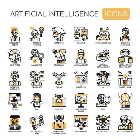 Artificial Intelligence, Thin Line and Pixel Perfect Icons