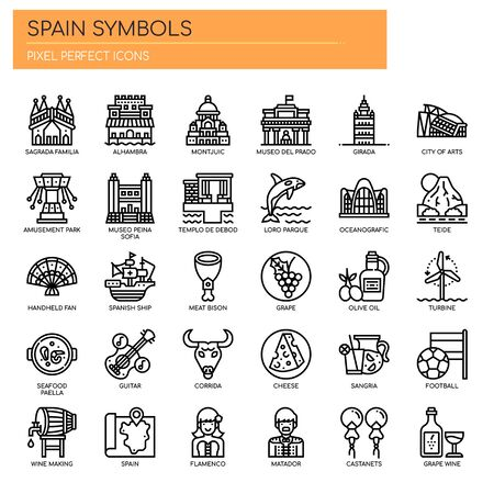 Spain Symbols , Thin Line and Pixel Perfect Icons