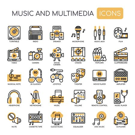 Music and Multimedia , Thin Line and Pixel Perfect Icons