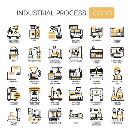 Industrial Process , Thin Line and Pixel Perfect Icons Stock Illustratie