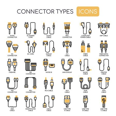 Connector Types , Thin Line and Pixel Perfect Icons Illustration