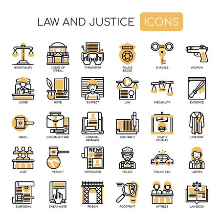 Law and Justice , Thin Line and Pixel Perfect Icons Illustration