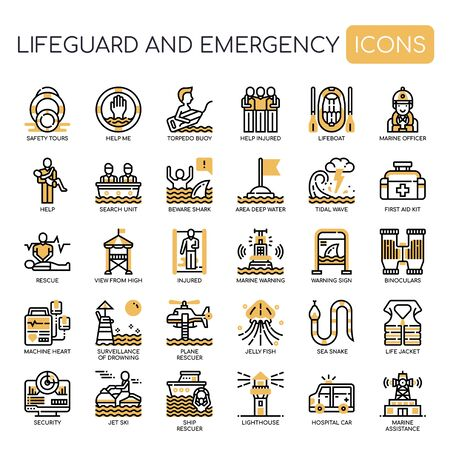 Lifeguard and Emergency Service , Thin Line and Pixel Perfect Icons