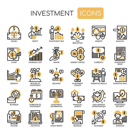 Investment Elements , Thin Line and Pixel Perfect Icons Vector Illustration