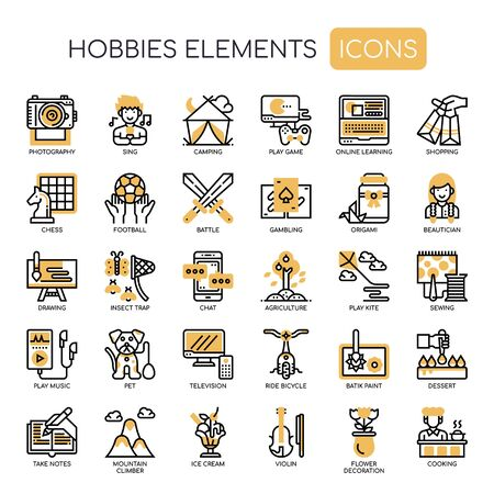 Hobbies Elements , Thin Line and Pixel Perfect Icons