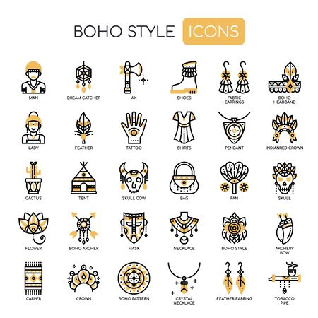 Boho Style , Thin Line and Pixel Perfect Icons