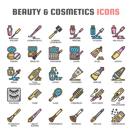 Beauty and Cosmetics , Thin Line and Pixel Perfect Icons
