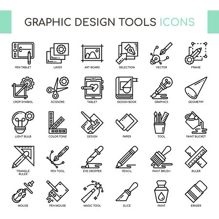 Graphic Design Tools , Thin Line and Pixel Perfect Icons