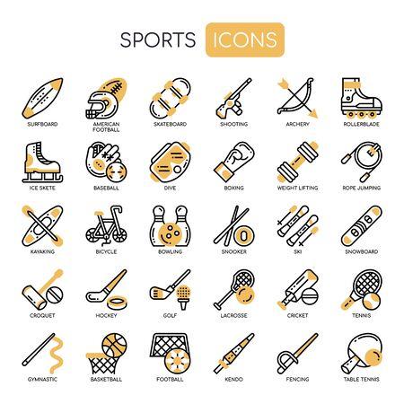 Sport, dunne lijn en pixel perfecte pictogrammen