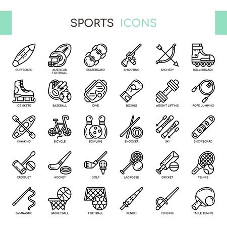 Sport , Thin Line and Pixel Perfect Icons Foto de archivo - 128421460