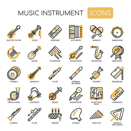Music Instruments , Thin Line and Pixel Perfect Icons  イラスト・ベクター素材