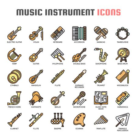 Music Instruments , Thin Line and Pixel Perfect Icons Illustration