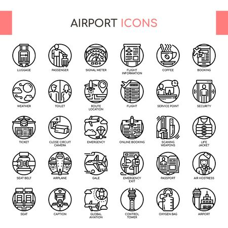 Airport , Thin Line and Pixel Perfect Icons Ilustrace