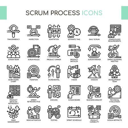 Scrum-Prozess, Thin Line und Pixel Perfect Icons Vektorgrafik